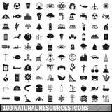 100 Ikonen der natürlichen Ressourcen eingestellt, einfache Art Lizenzfreies Stockfoto