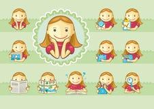 Ikonen der netten Mädchen Stockbilder