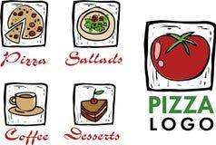 Ikonen der Pizza/des Kaffee/der Gaststätte Stockbild