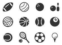 Ikonen der Sportbälle einfach Lizenzfreies Stockfoto
