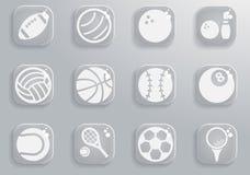 Ikonen der Sportbälle einfach Lizenzfreies Stockbild