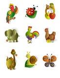 Ikonen der Tiere Lizenzfreies Stockbild