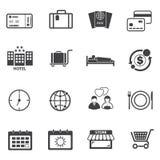 Ikonen der touristischen Reise eingestellt Stockfotos