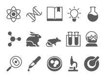 Ikonen der Wissenschaft und schwarze des Vektors der Forschung lizenzfreie abbildung