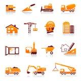 Ikonen des Aufbaus und des Grundbesitzes Stockfotografie