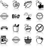 Ikonen des biologischen Lebensmittels Stockbild