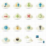 Ikonen des Datenverarbeitungsnetzes der Wolke  Stockfoto