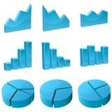 Ikonen des Diagramms 3D lizenzfreie abbildung