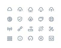 Ikonen des drahtlosen Netzwerks Linie Reihe Lizenzfreie Stockfotos