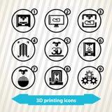 Ikonen des Drucken 3d Lizenzfreies Stockbild
