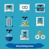 Ikonen des Drucken 3d Lizenzfreies Stockfoto