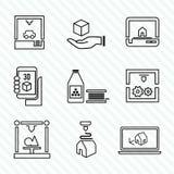 Ikonen des Druckers 3d eingestellt Stockbilder