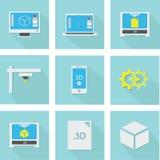 Ikonen des Druckes 3D eingestellt Lizenzfreie Stockfotografie