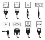 Ikonen des elektrischen Anschlusses und des Steckers eingestellt Lizenzfreie Stockbilder