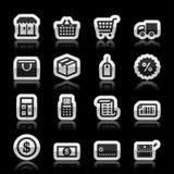 Ikonen des elektronischen Geschäftsverkehrs Stockbilder