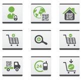 Ikonen des elektronischen Geschäftsverkehrs eingestellt Stockfotos