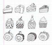 Ikonen des Gekritzelkleinen kuchens Lizenzfreie Stockfotos