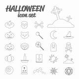 Ikonen des Halloween-Themasatzes Stockfotos