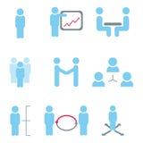 Ikonen des Managements und des menschlichen Hilfsmittels Stockfoto