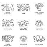 Ikonen des Marketings und neue Ideen im elektronischen Geschäft Stockbild