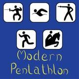Ikonen des modernen Fünfkampfs stockbild