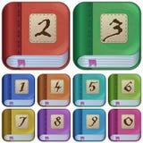 Ikonen des quadratischen Buches für Anwendungen, Ebücher Stockfotografie