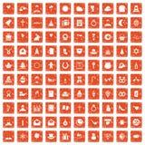 100 Ikonen des religiösen Fests stellten Schmutz orange ein lizenzfreie abbildung