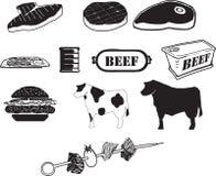Ikonen des Rindfleisches B/W Lizenzfreie Stockbilder