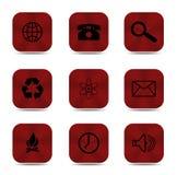 Ikonen des roten Knopfes lokalisiert Stockfoto