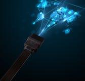 Ikonen des Sozialen Netzes, die aus elektrische Leitung herauskommen Stockbild