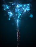 Ikonen des Sozialen Netzes, die aus elektrische Leitung herauskommen Stockfoto