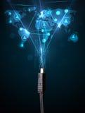 Ikonen des Sozialen Netzes, die aus elektrische Leitung herauskommen Lizenzfreie Stockfotografie