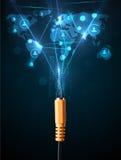 Ikonen des Sozialen Netzes, die aus elektrische Leitung herauskommen Stockfotografie