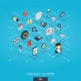 Ikonen des Stützintegrierte Netzes 3d Isometrisches Konzept Digitalnetzes Stockfotos