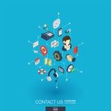 Ikonen des Stützintegrierte Netzes 3d Isometrisches Konzept Digitalnetzes Lizenzfreies Stockbild