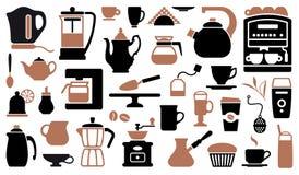 Ikonen des Tees und des Kaffees Stockbilder