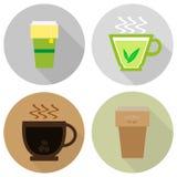 Ikonen des Tees und des Kaffees in einem flachen Design stock abbildung