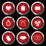 Ikonen des Valentinsgrußes Stockbilder