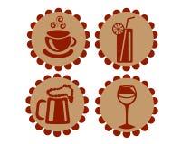 Ikonen, die Getränke kennzeichnen Stockfotografie
