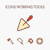 Ikonen, die Werkzeuge worcking sind Lizenzfreies Stockfoto