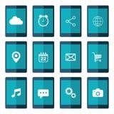 Ikonen eingestellt auf Tablettenschirm Flache Vektorillustration Lizenzfreies Stockfoto