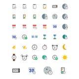 Ikonen eingestellt Vektorillustration des Ebene farbigen Piktogramms Zeichen und Symbole stock abbildung