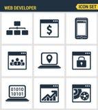 Ikonen eingestellte erstklassige Qualität der anpassungsfähigen Websitekundenbezogenheit, Netz entwickeln Prozess Lizenzfreies Stockfoto