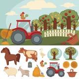 Ikonen eingestellter Bauernhof und Landwirtschaft Stockbilder