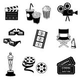 Ikonen eingestelltes Kino und Filme getrennt auf Weiß Lizenzfreie Stockfotos