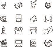 Ikonen eingestelltes Kino und Filme getrennt auf Weiß Stockfotografie
