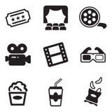Ikonen eingestelltes Kino und Filme getrennt auf Weiß Stockbilder