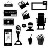 Ikonen eingestelltes Kino und Filme getrennt auf Weiß Lizenzfreies Stockfoto
