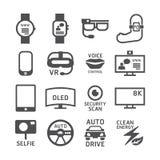 Ikonen eingestelltes Technologievektorschwarz-Farbdesign Lizenzfreies Stockbild