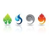 Ikonen-Element-Erdwasser-Luft-Feuer Stockfotos